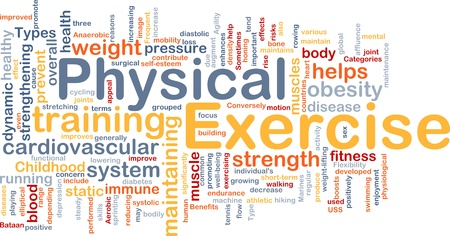 physical training: Background concept wordcloud illustration of physical exercise