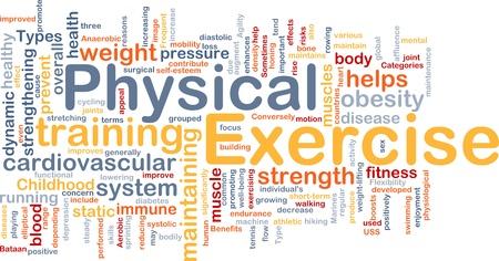 obesidad infantil: Ilustraci�n de wordcloud concepto de fondo de ejercicio f�sico Foto de archivo