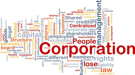 Background concept wordcloud illustration of corporation illustration