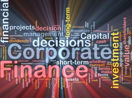 return: Background concept wordcloud illustration of  corporate finance glowing light