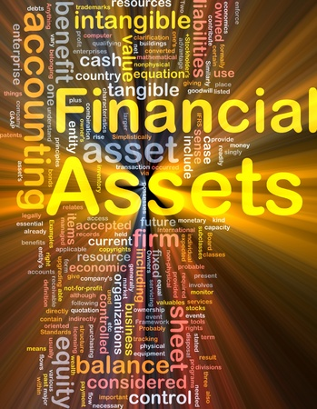 tangible: Background concept wordcloud illustration of financial assets glowing light