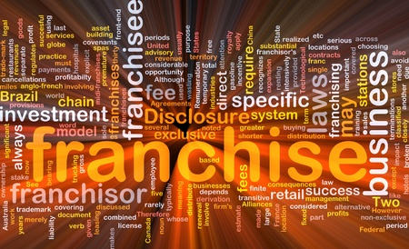 disclosure: Background concept wordcloud illustration of franchise glowing light