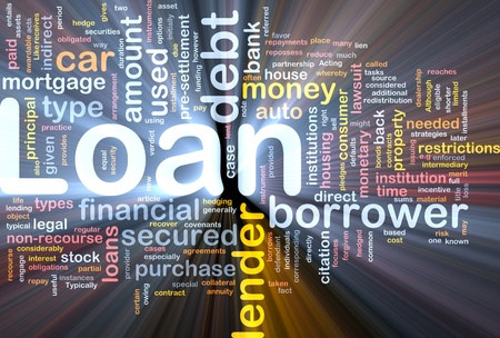 Background concept wordcloud illustration of loan glowing light illustration