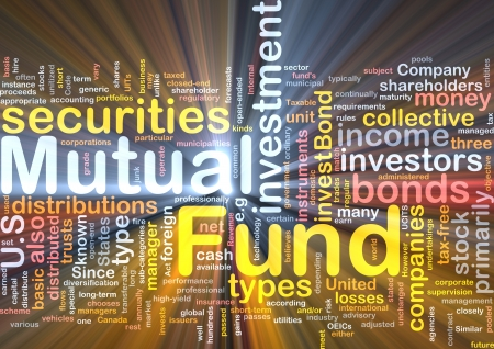 mutual: Background concept wordcloud illustration of mutual fund glowing light Stock Photo
