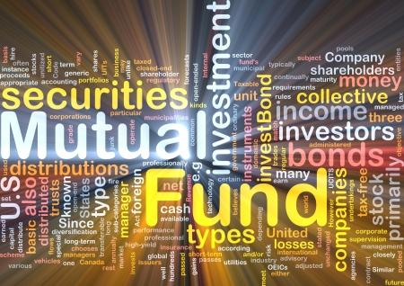 anleihe: Hintergrund Konzept Wordcloud Abbildung des Fonds auf Gegenseitigkeit leuchtenden Lichts