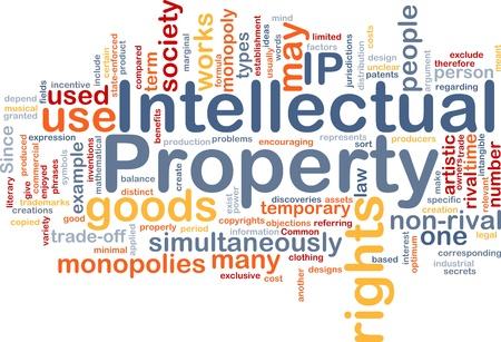 intellect: Illustrazione di wordcloud sfondo concetto di propriet� intellettuale