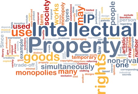 property rights: Ilustraci�n de wordcloud concepto de fondo de la propiedad intelectual