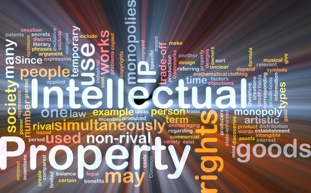 monopolies: Background concept wordcloud illustration of intellectual property glowing light
