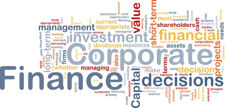 Background concept wordcloud illustration of  corporate finance Stock Illustration - 9437931