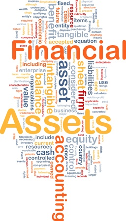 tangible: Background concept wordcloud illustration of financial assets Stock Photo