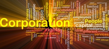 corporation: Background concept wordcloud illustration of corporation glowing light