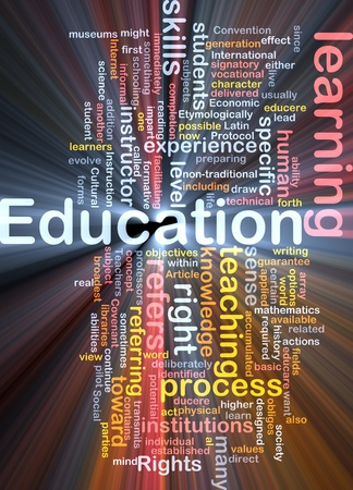 learning process: Background concept wordcloud illustration of education glowing light Stock Photo
