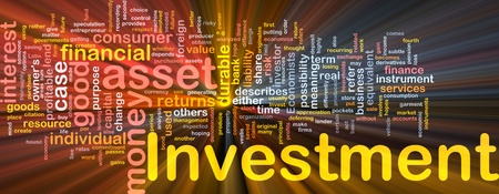 economist: Background concept wordcloud illustration of investment glowing light Stock Photo