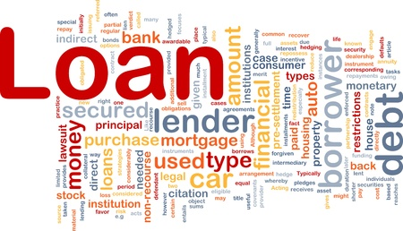 installment: Background concept wordcloud illustration of loan Stock Photo