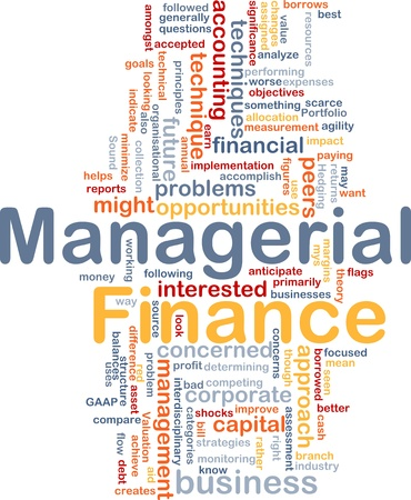 Background concept wordcloud illustration of managerial finance Stock Photo