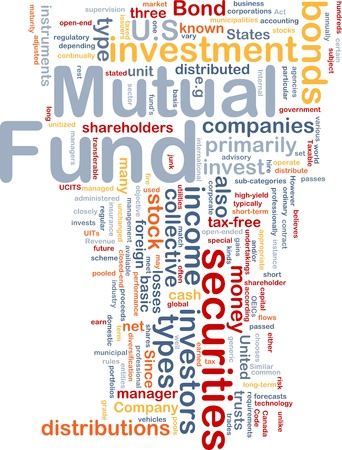 Background concept wordcloud illustration of mutual fund illustration