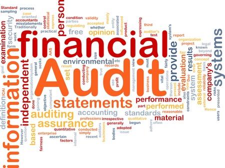 auditor�a: Ilustraci�n de wordcloud concepto de fondo de auditor�a financiera Foto de archivo