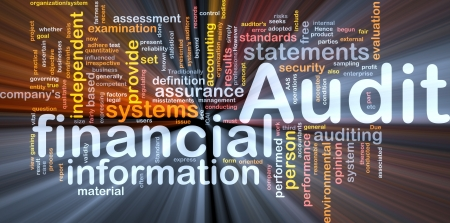 auditing: Background concept wordcloud illustration of financial audit glowing light