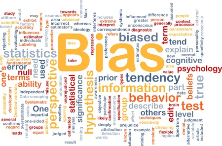 describe: Background concept wordcloud illustration of bias Stock Photo