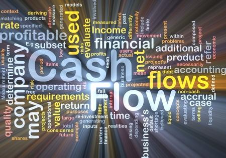 intention: Illustration de wordcloud Background concept de lumi�re �clatante de cash flow