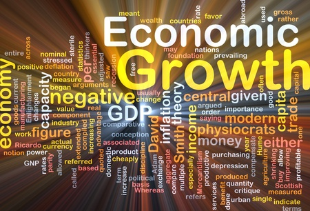 critique: Background concept wordcloud illustration of economic growth glowing light Stock Photo
