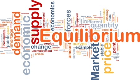 demanded: Background concept wordcloud illustration of equilibrium Stock Photo