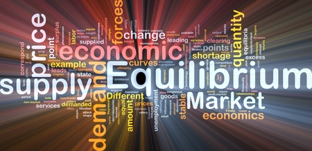 demanded: Background concept wordcloud illustration of equilibrium glowing light