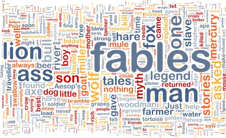 fables: Background concept wordcloud illustration of fables Stock Photo