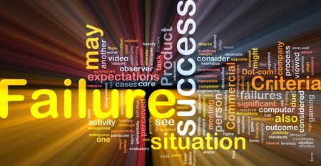 failures: Background concept wordcloud illustration of failure glowing light