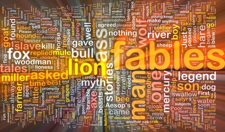 fables: Background concept wordcloud illustration of fables glowing light