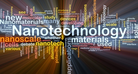 nanotech: Background concept wordcloud illustration of nanotechnology glowing light