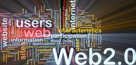 characteristics: Background concept wordcloud illustration of web 2.0 glowing light Stock Photo