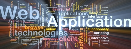 java script: Background concept wordcloud illustration of web application glowing light Stock Photo
