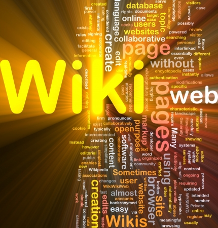wiki: Background concept wordcloud illustration of wiki glowing light