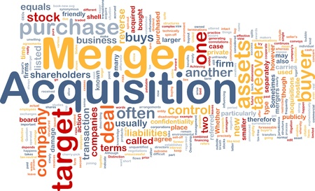 Background concept wordcloud illustration of merger acquisition Stock Illustration - 9464656