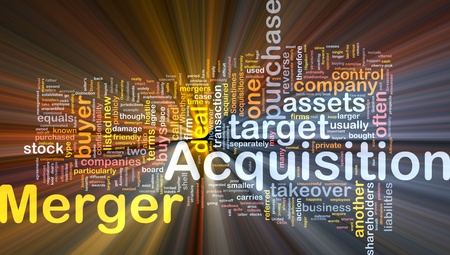 purchased: Background concept wordcloud illustration of merger acquisition glowing light Stock Photo