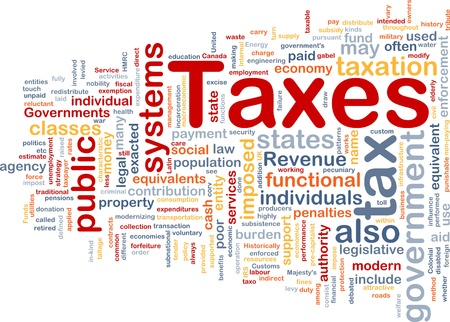 Background concept wordcloud illustration of taxes Stock Illustration - 9464654