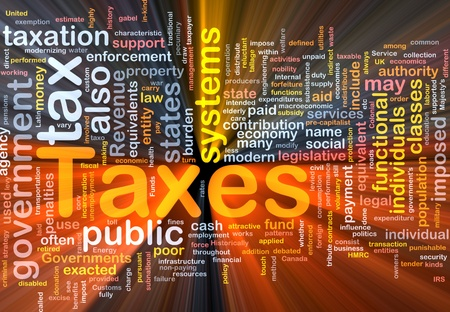 Background concept wordcloud illustration of taxes glowing light Imagens