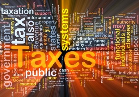 impuestos: Ilustraci�n de wordcloud concepto de fondo de impuestos brillante luz