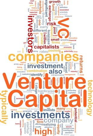 capitel: Ilustración de wordcloud concepto de fondo de capital de riesgo