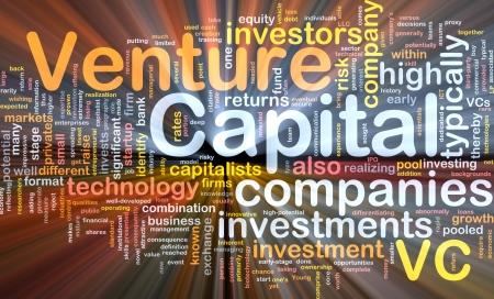 capital humano: Ilustraci�n de wordcloud concepto de fondo de capital de riesgo de luz brillante