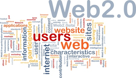 Background concept wordcloud illustration of web 2.0 illustration