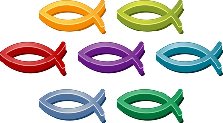 christian symbol: Jesus Christian fish symbol colored icon set illustration Stock Photo