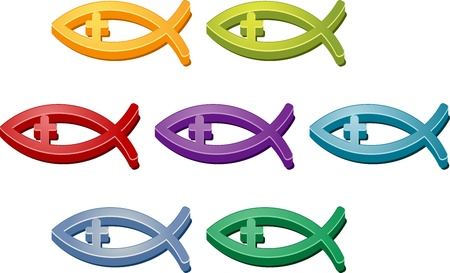 colorful fishes: Jesus Christian fish symbol colored icon set illustration Stock Photo