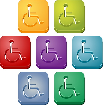 wheelchair access: Handicap symbol button icon colored illustration set