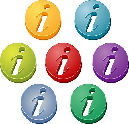 Icône du bouton information aide info coloré illustration ensemble