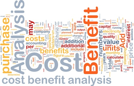 values: Background concept wordcloud illustration of cost benefit analysis Stock Photo