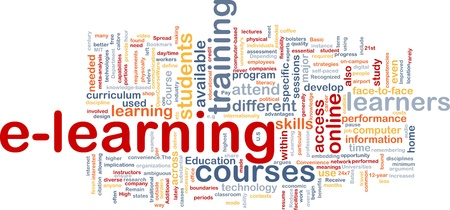 instances: Background concept wordcloud illustration of e-learning