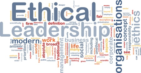 corporate responsibility: Background concept wordcloud illustration of ethical leadership