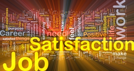 intention: Background concept wordcloud illustration of job satisfaction glowing light